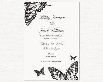 Butterfly wedding invitation printable Black and white Wedding invitations old Classic wedding invites Mid century invitation card