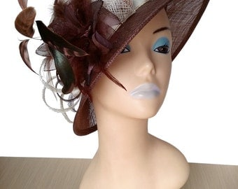 Brigitte Brown Sinamay Designer Hat - UH331