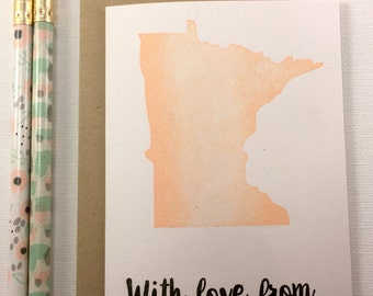 Minnesota - State Love Stationery - Four Bar Cards - Thank You, Hello From, With Love