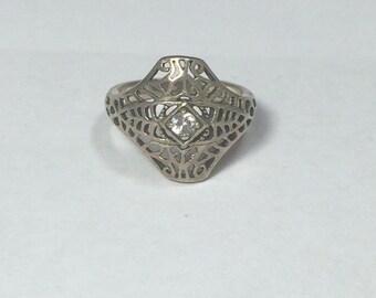 Sterling Silver 925 Vintage Revival Filigree Ring Avon Sz 4.5 2.6g 5806