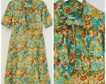vintage summer dress/flower summer dress with bow/size L