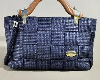 Vintage Blue Woven Bag, Handbag, Shoulderbag, Summer Bag, Handbag