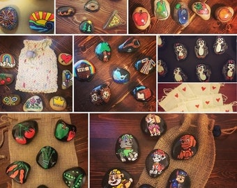 Story Stones and Painted Rocks! *Hand Painted Stones in a Drawstring Bag* Garden Markers, Magnets, Paperweights