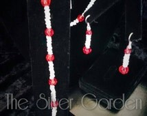 Vintage Moonstone Necklace Set, Necklace Set, Bracelet Set, Earring Set, Vintage Red Necklace, Glass Beads, 50's Retro, June Birthday,