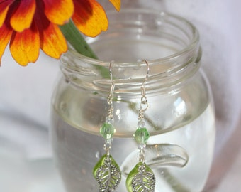 Green glass leaf earrings