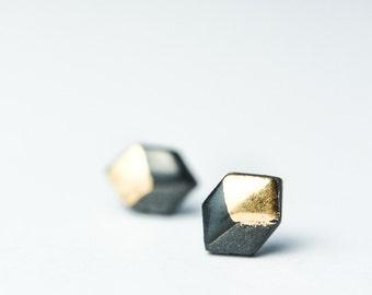 Hexagon Earrings, Small Earring Studs, Porcelain And Gold Earrings, Black Earrings For Men, Mens Earrings, Earrings Gold, Black Stud Earring