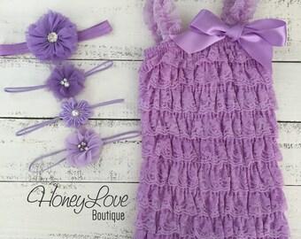 Lace Petti Romper, Purple Lilac Lavender, matching flower headband rhinestone pearl polka dot, newborn infant toddler baby girl outfit set
