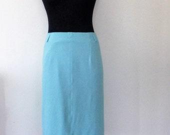 Blue Silk Skirt, Otto Kern skirt, Blue Silk Pencil Skirt, Office Skirt, Otto Kern, Size XL