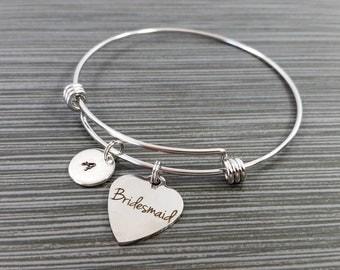 Bridesmaid Bracelet - Bridesmaid Charm - Expandable Charm Bracelet - Custom Initial Bracelet - Wedding Bracelet - Best Friend Gift