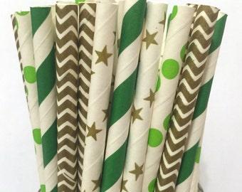 2.85 US Shipping -St. Patrick's Day Paper Straws- Paper Straws - Cake Pop Sticks - Drinking Straws