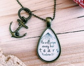 """Teardrop Scripture Necklace- Revelation 21:4 """"He will wipe away her tears."""" Vintage Brass or Antique Silver Necklace or Keychain"""