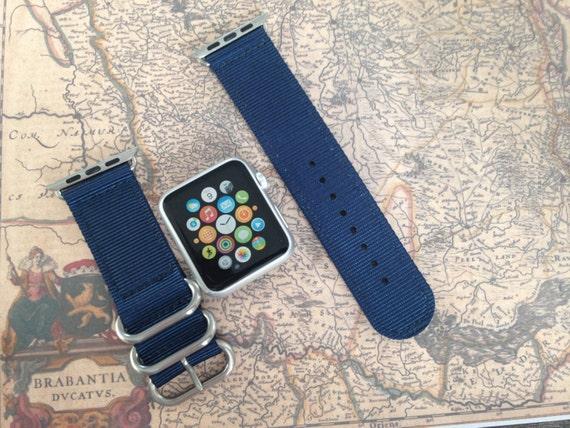 Apple watch original, series 1, series 2 band: Nato/zulu strap 2-piece Apple watch / Apple watch band (dark blue), Free Shipping Worldwide!