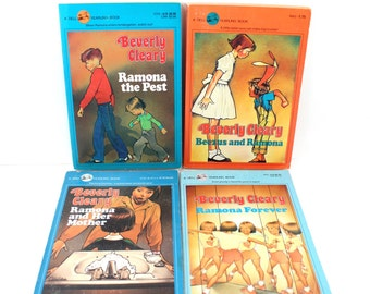 "Four vintage Beverly Cleary books - ""Ramona the Pest"" ""Beezus and Ramona"" ""Ramona and Her Mother"" ""Ramona Forever"" - Quimby, Alan Tiegreen"