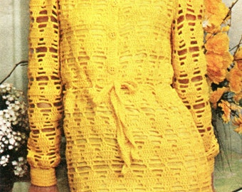 Vintage Crocheted Lacy Shirt Dress & Matching Hat PDF Pattern Instant Download