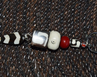 Kenyan Bone Feather and Maroon Bead Keychain