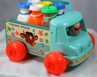 Vintage Fisher Price Milk Wagon 1965 Complete