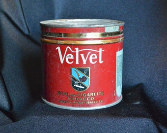 Velvet Pipe and Cigarette Vacuum Can, Tobacco Tin