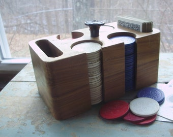 Art Deco Wooden Poker Caddy with Chips