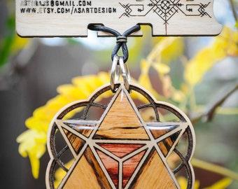 Merkaba Necklace - Laser Cut Maple & Exotic wood