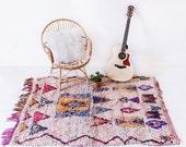 """Vintage Moroccan Boucherouite Rug, """"The Arlo,"""" Rag Rug, Berber Rug, Geometric Pattern Rug, Colorful Rug, Bohemian, Boho Rug"""