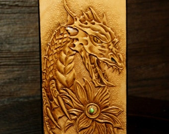 iPhone  leather case,  hand-tooled phone case, iphone case, leather iPhone wallet , phone case with Dragon  MADE-TO-ORDER