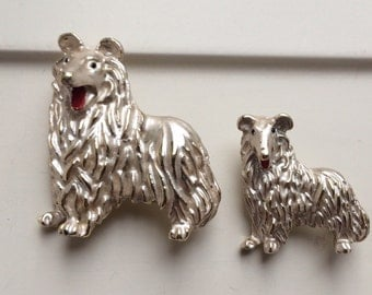 Vintage Gerry's mother and baby Collie pins