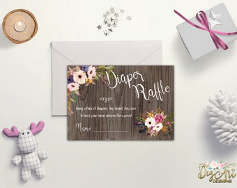 Diaper Raffle Printable Diaper Raffle Card Girl Baby Shower Diaper Raffle Floral Diaper Raffle Ticket Baby Shower Game Digital Download File
