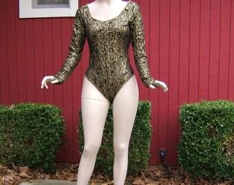 Vintage 1980s Scoop Neck Snap Crotch Leotard | Long Sleeve Lace Bodysuit | Black and Gold Lace Leotard, Cinema Etoile