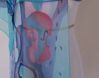 "Violin, scarf, 14"" X 72"", Silk Woman's Scarf, Handmade Silk Scarf, Hand Painted Silk Scarf, Scarves"