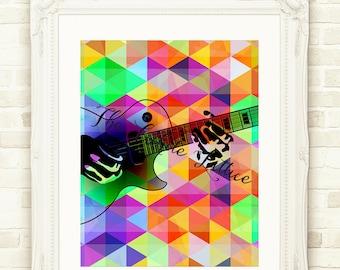 Geometric Guitar Playing, Wall Art, Printable Digital Guitar, Geometric Printable Art, Instant Download, Wall Art Decor Print