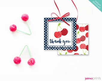 Instant Download Sweet Cherry Printable Party Square Thank You Tags, Red Cherry Favor Tags, Cherry Party Printable, Vintage Cherry