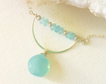 Blue Necklace - Aqua Blue Chalcedony - Sterling Silver Jewelry, Crescent Necklace, Freshwater Pearls, Blue Gemstone, Real Pearl, Real Silver