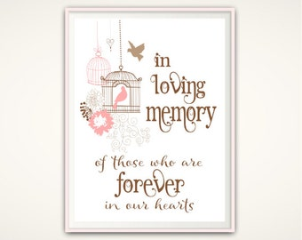 In Loving Memory Sign - Wedding Memorial Sign, In Loving Memory PRINTABLE, In Memory Of Sign, Wedding Memorial Table Wedding Sign, DOWNLOAD