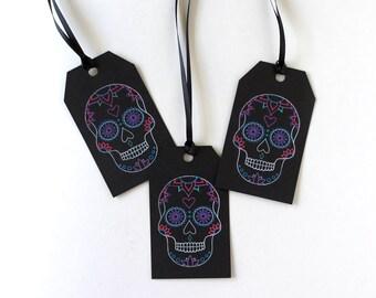Halloween Gift Tags - Sugar Skull - Dia de los Muertos - Day of the Dead - Mexican Inspired - Gothic Macabre Decor - Alternative Wedding