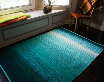 Hand Made Striped Ombre Rag Rug Aqua Emerald Blue Turquoise