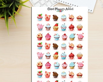 Cupcake Illustration Planner Stickers (S-003)