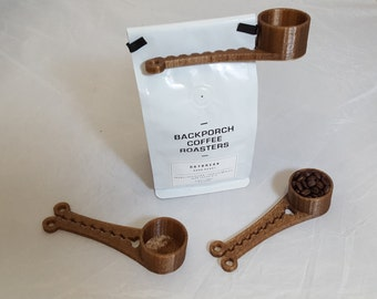 Coffee Measuring Cup and Bag Clip - 3D Printed Coffee Scoop - Made From Recycled Coffee Waste - 2 TBS.
