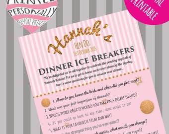 Personalised hen party game - Ice breaker questions game - Printable hen do game - Pink & gold glitter - Bachelorette party game