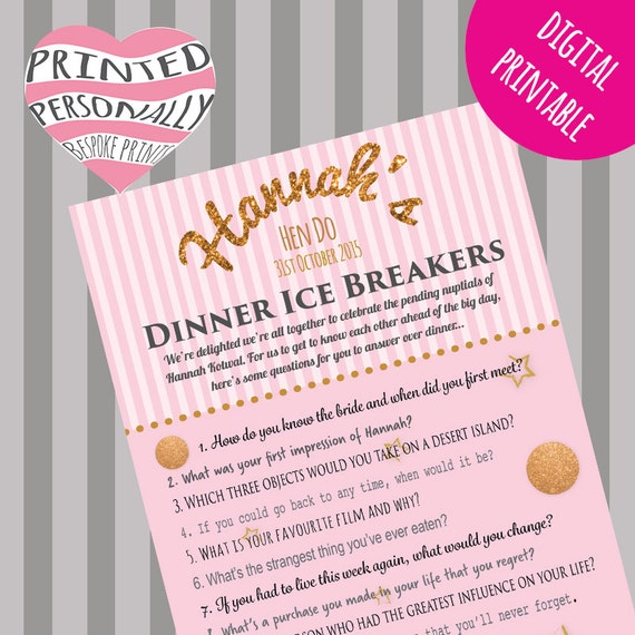 Personalised Hen Party Game Ice Breaker Questions Game
