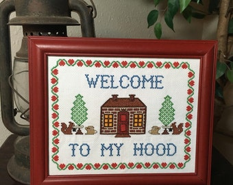 "Completed Cross Stitch-Welcome To My Hood-8""×10"" Framed"