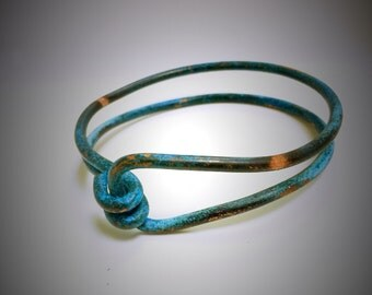 blue patina copper bangle, copper bangle