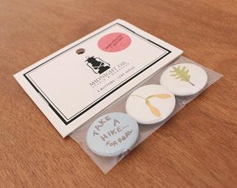 "Leaf Series: 3 - 1""  Hand Screen Printed Button Pins"