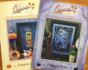 Autumn Lane Stitchery Halloween Bundle: Midnight Brew AND Pumpkin Stack Cross Stitch Pattern Leaflets