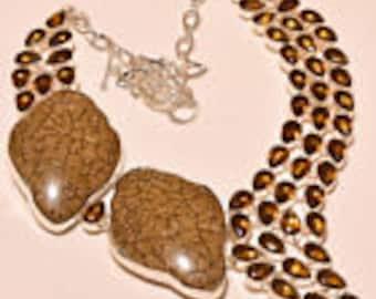 Smokey Topaz and animal bone stone Necklace.... NOW 50% OFF !!! WAS 75.00