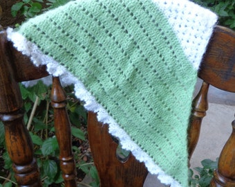 Vintage Green and Cream  Mohair Shawl/Wrap
