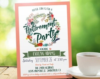 Peach and Green Retirement Party Invitation - Personalized Printable DIGITAL FILE