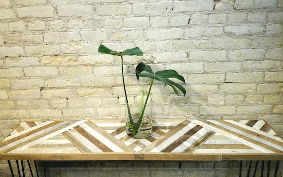 "Reclaimed Wood Table, Console Table or Sofa Table, Geometric Triangle Pattern, 60"" x 12"""