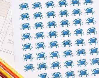 48 Blue Crab Stickers, Blue Crab Planner Stickers, Blue Crab Decor, Blue Crab Erin Planner Stickers