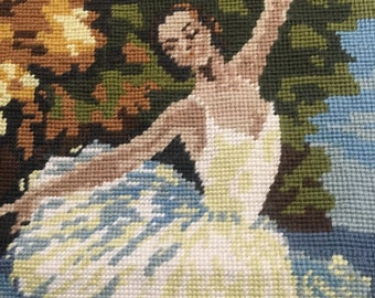 Ballerina FRENCH Needlepoint, Finished Vintage Ballet Dancer Large Wool Tapestry Dance Decorative Throw Pillow Dancer White Tutu Paris