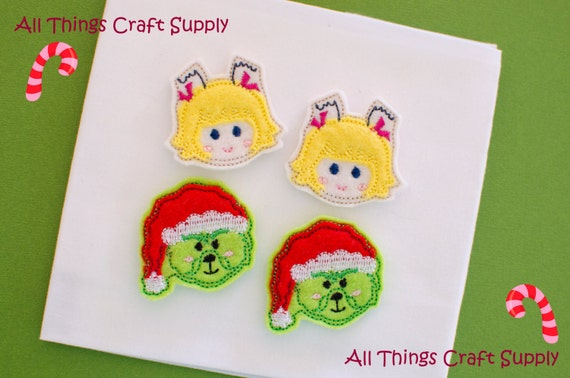 GRINCH CINDYLOU WHO Christmas Holiday felties / Felt Appliques / Trimmed / Hair Clips, Bow Centers, Planner Clips, Bookmarks, Pacifier Clips